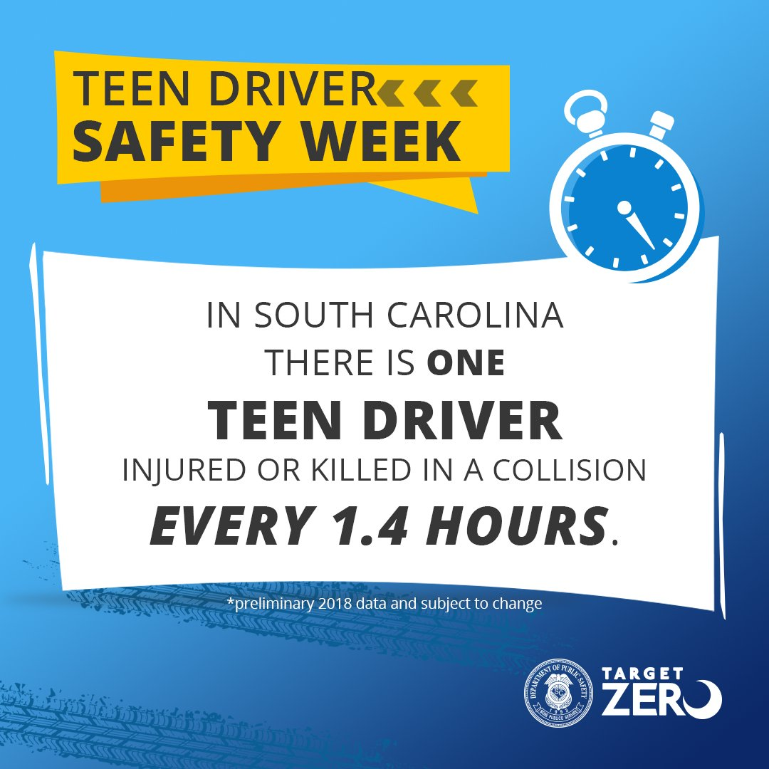 This week is #NationalTeenDriverSafetyWeek. We will be sharing safety tips and statistics to help young drivers stay safe on South Carolina roadways. Follow us on Facebook, Instagram and Twitter and help us by sharing this lifesaving information. #SCDPS #LESM #sctweets https://t.co/MdSOpIV9K9