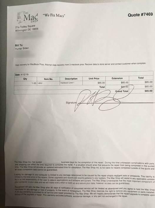 NEW: @MikeEmanuelFox obtains photo showing an alleged Hunter Biden signature on paperwork for the computer repair shop https://t.co/LMBkiXmCer