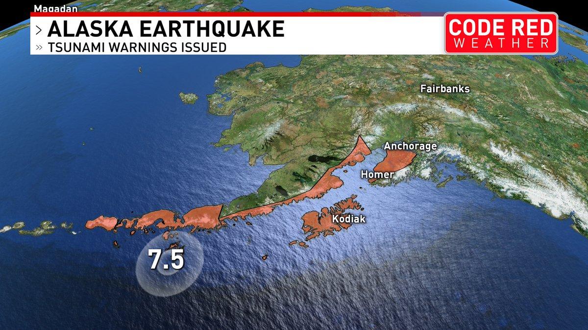 "Katy Morgan's tweet - ""#tSUNAMI Warning issued for the Aleutian Islands. A  7.5 mag earthquake has struck off the coast of #Alaska #tnwx #Nashville  @foxnashville "" - Trendsmap"