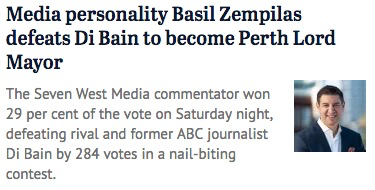 What's multi-media man Basil Zempilas  to do after being elected Lord Mayor of Perth? Something's got to give. He's on breakfast radio, presents the nightly sports news on TV and writes for The West Australian. Might create a few jobs for unemployed journos. https://t.co/ZbDoyR9heS