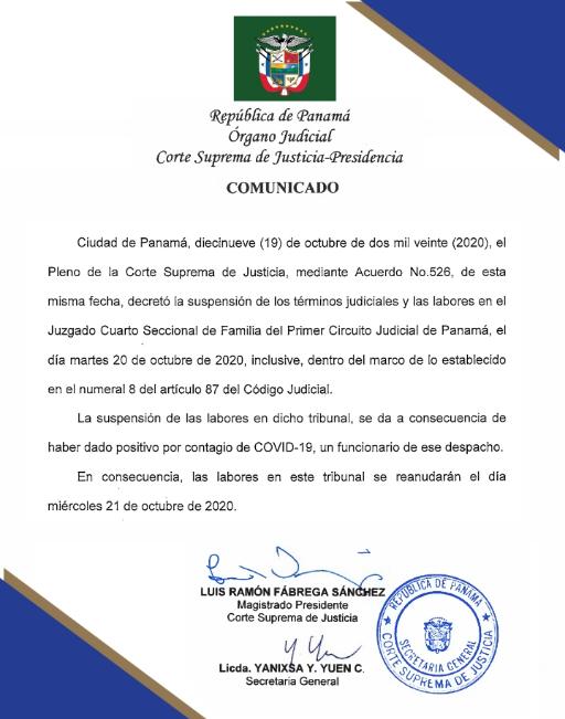 Suspenden términos y labores en Juzgado Cuarto Seccional de Familia de Panamá hasta el miércoles, tras la detección de un caso de #COVID__19. #Panamá #EnSegundos https://t.co/0eLuzFBoXf