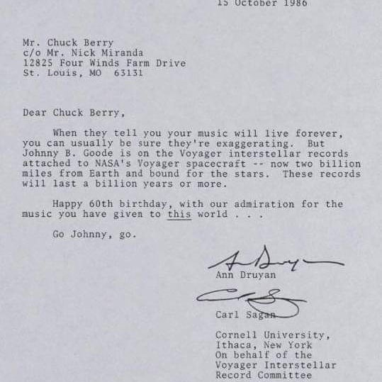This letter was written billions of miles ago. :)  To: Chuck Berry  From: Carl Sagan and Ann Druyan  Chuck Berry (Oct 18,1926 – March 18, 2017) #ChuckBerry #CarlSagan  #AnnDruyan #Voyager https://t.co/o7cjceRaZ1