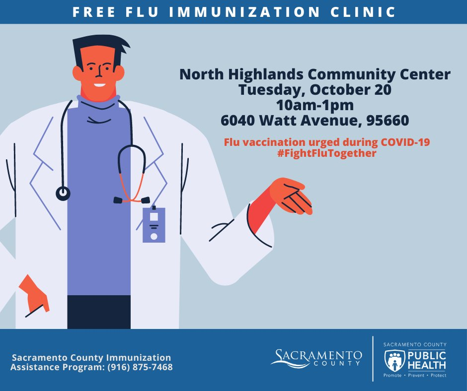 There will be free flu vaccination clinic on 10/20, 10 a.m – 1 p.m. at North Highlands Community Center; 10/21, 10 a.m. – 2 p.m. at the Mexican Consulate – Natomas; and on 10/24, 10 a.m. – 2 p.m. at Healthy Sacramento Day – Sutter Park.  Learn more: https://t.co/6uN6pTsdLS https://t.co/2f5e10QKUx