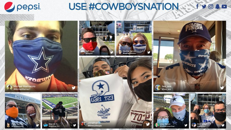 Use #CowboysNation for your chance to be featured on our video board in #ATTStadium 🙌 @Pepsi | #PITvsDAL