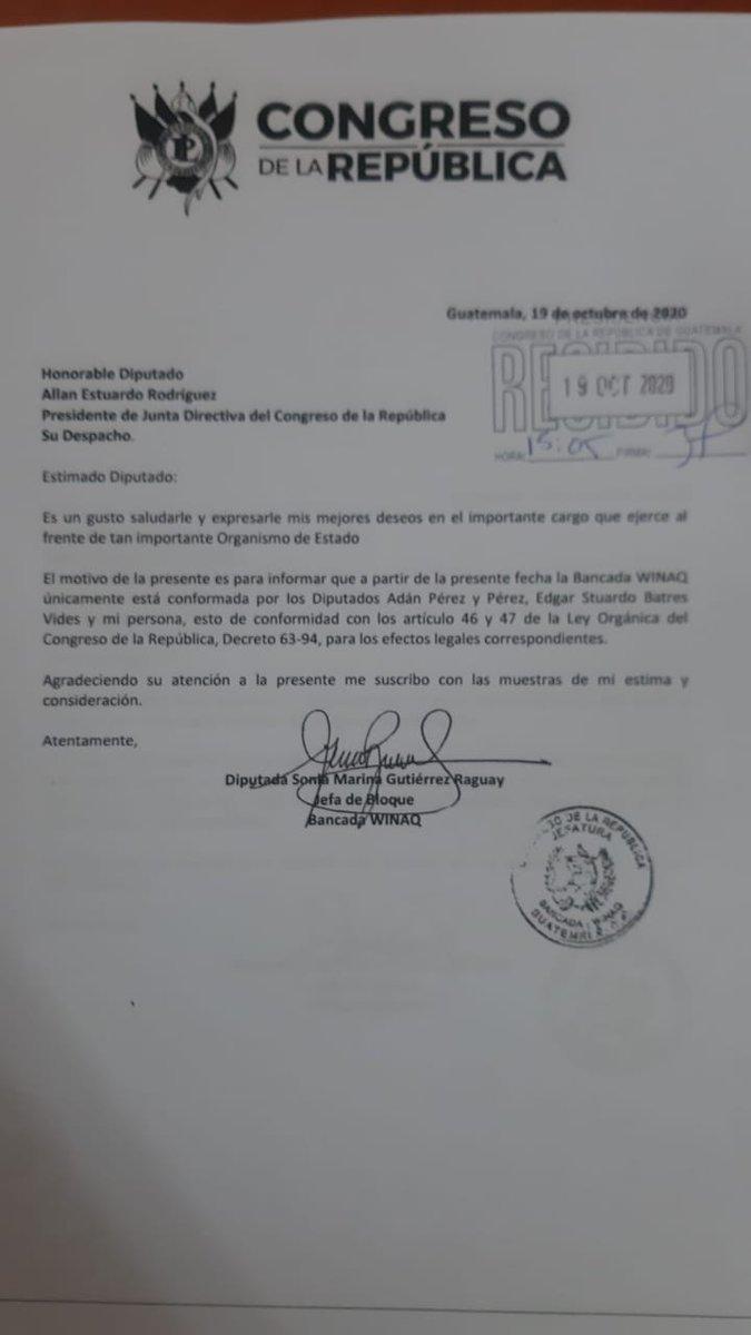 test Twitter Media - La bancada de Winaq informa al presidente del Congreso, Allan Rodríguez, que entre sus integrantes no está el diputado Aldo Dávila. https://t.co/cBW7p7mFeV