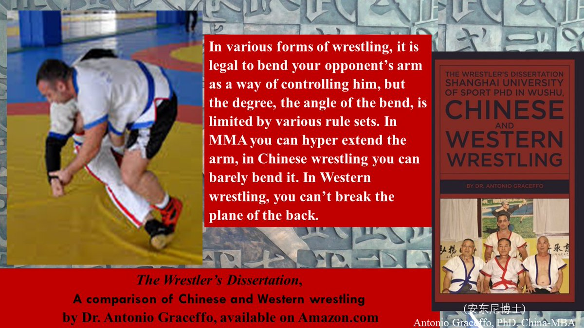 #wrestling, it is legal to bend your opponent's arm as a way of controlling him, but rules limit the degree of the angle of the bend. #Shuaijiao you can barely bend it, in #MMA you can hyper-extend it  The Wrestler's Dissertation #BJJ #Jujitsu https://t.co/AXoyTf5UVG https://t.co/UWbj3LC26Z