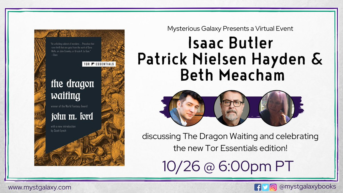 Next Monday at 6pm PT were hosting a virtual event with @parabasis @pnh & @bethmeacham, celebrating the new Tor Essentials edition of The Dragon Waiting by John M. Ford! Event info -> buff.ly/31mj3uW Register on Crowdcast -> buff.ly/3jf2DKZ