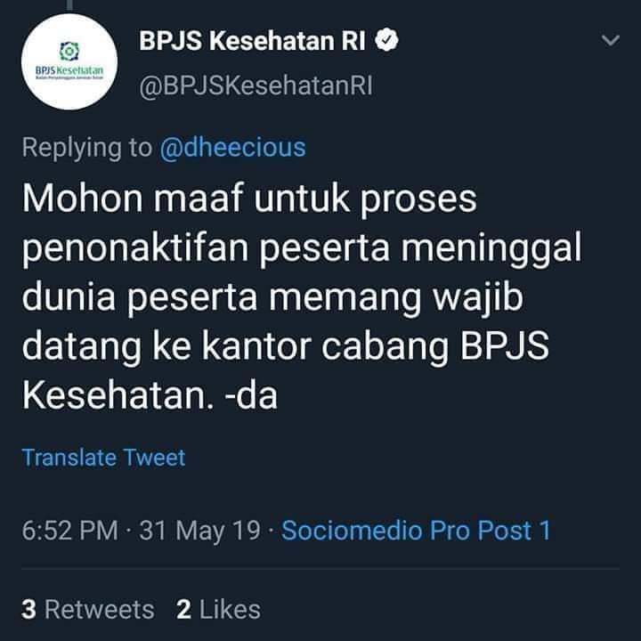 RT @t4wonnd4s: Peserta meninggal dunia wajib datang ke kantor cabang BPJS kesehatan. https://t.co/uLI0TkRoyY