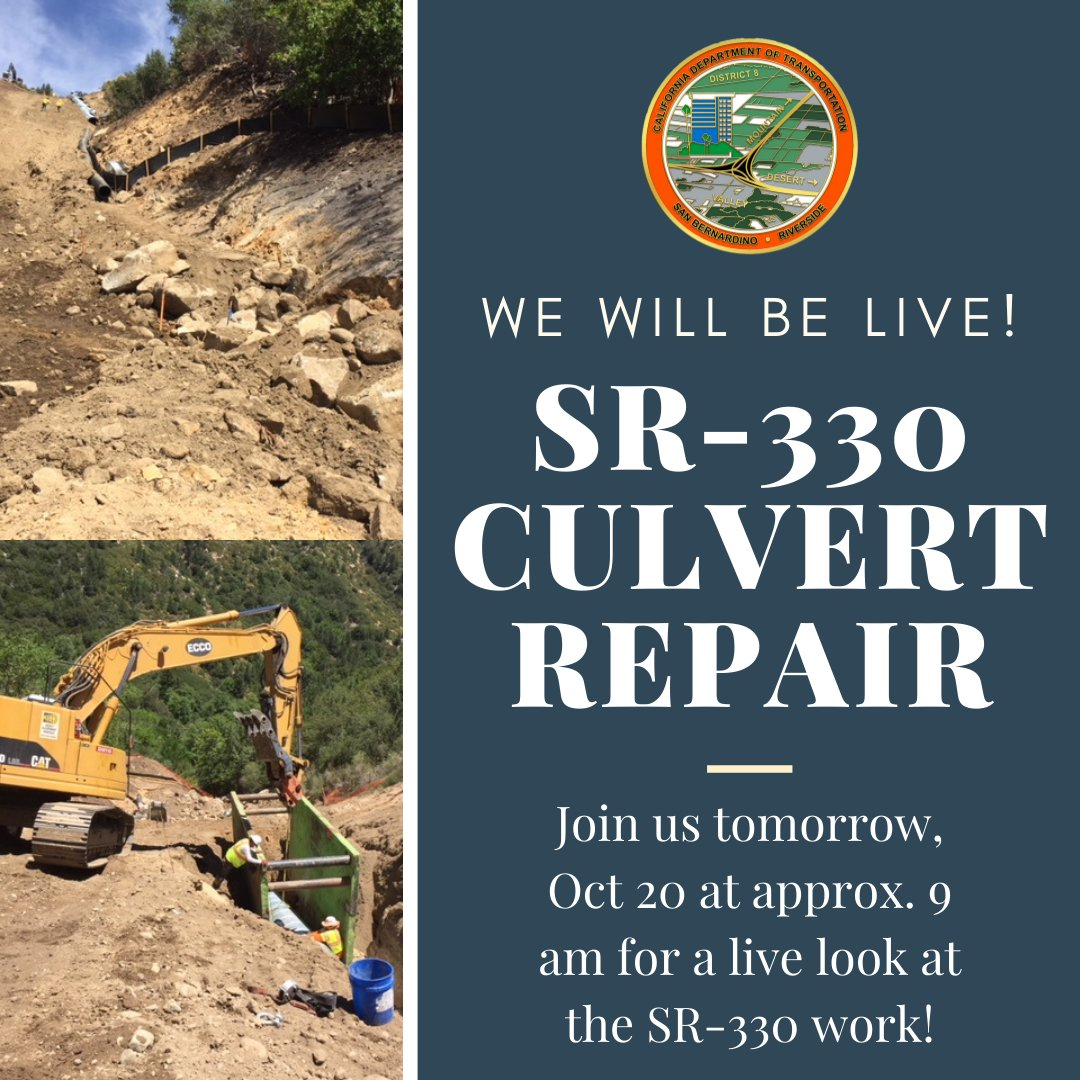 Image posted in Tweet made by Caltrans District 8 on October 19, 2020, 11:05 pm UTC