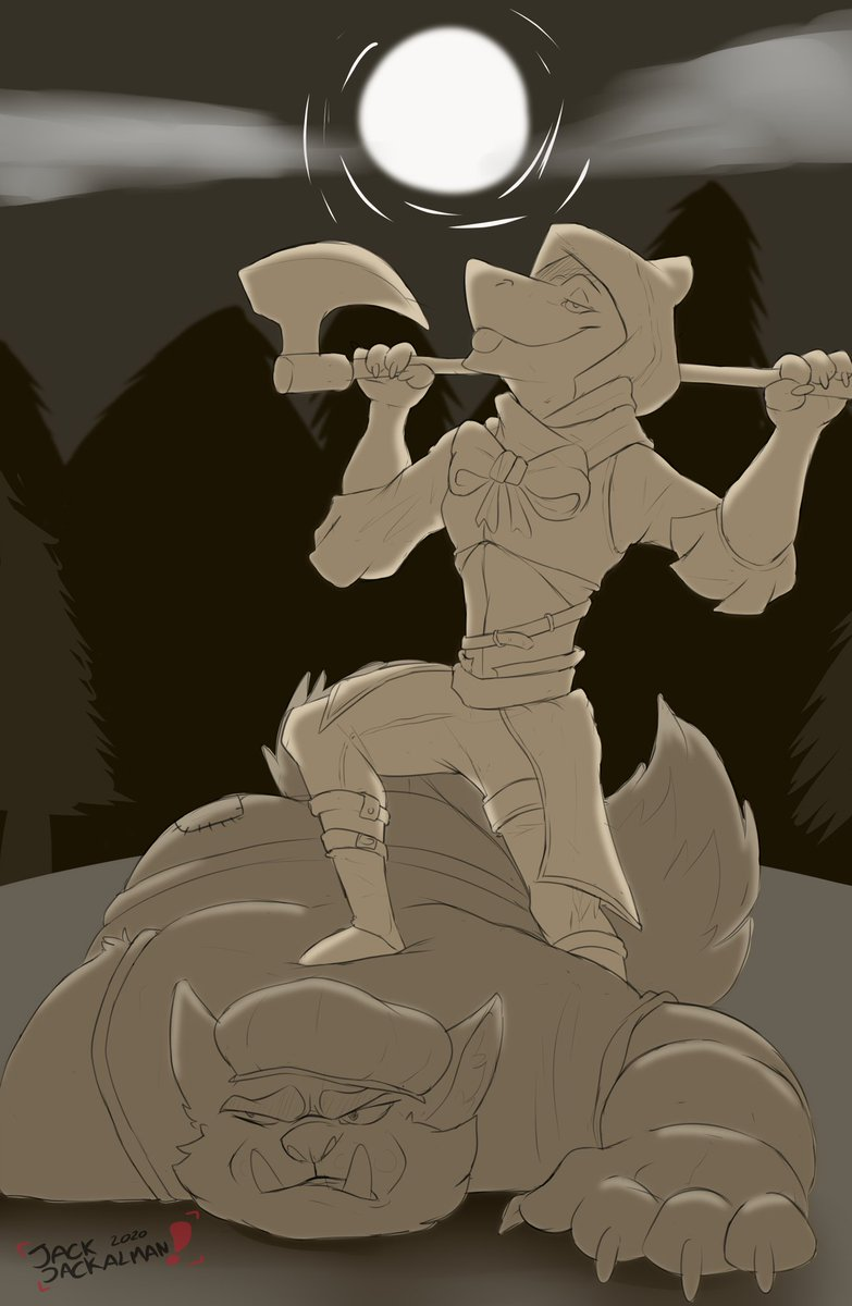 The big bad wolf has been captured!! Ft: @emmentalSergal (Drawing inspired by ashe from overwtach) #furry #furryart #jackalman6 #Halloween