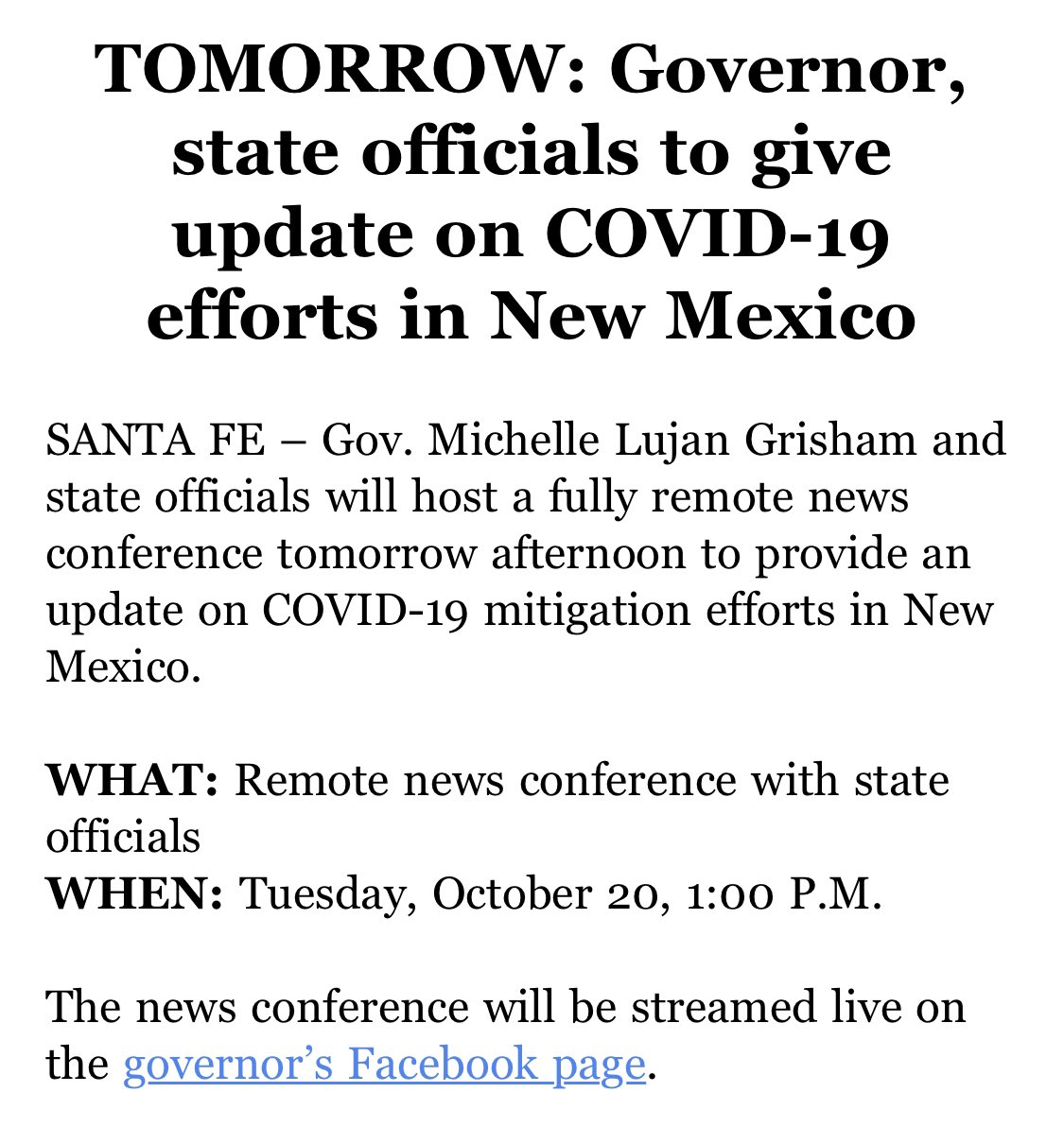 Attention: tune in tomorrow to @GovMLG's Facebook page for updates. https://t.co/XIhiG5glAw