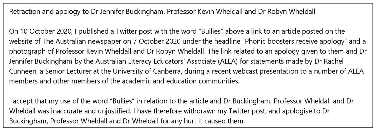 Retraction and apology to Dr Jennifer Buckingham, Professor Kevin Wheldall and Dr Robyn Wheldall