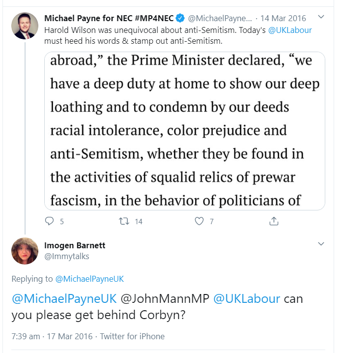 @CCleePolitical @MichaelPayneUK March 2016 ! I think Ill be unfollowing Michael. Seems to have been in on the start with John Mann,