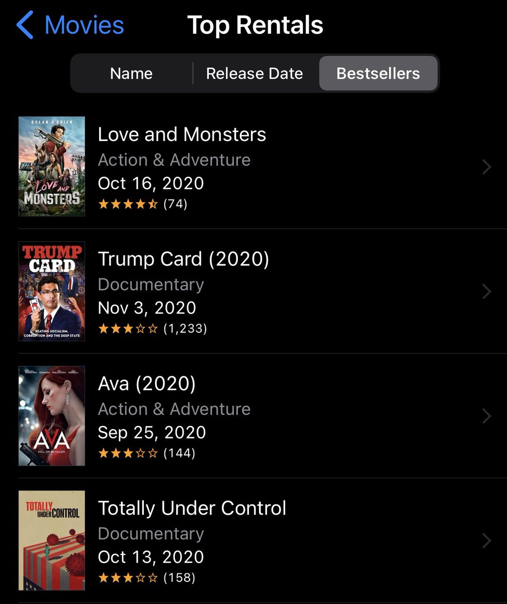 Help us get TrumpCardThemovie back to #1 on iTunes ! #TrumpCard ⁦@DineshDSouza⁩ https://t.co/SxP3t11eMf