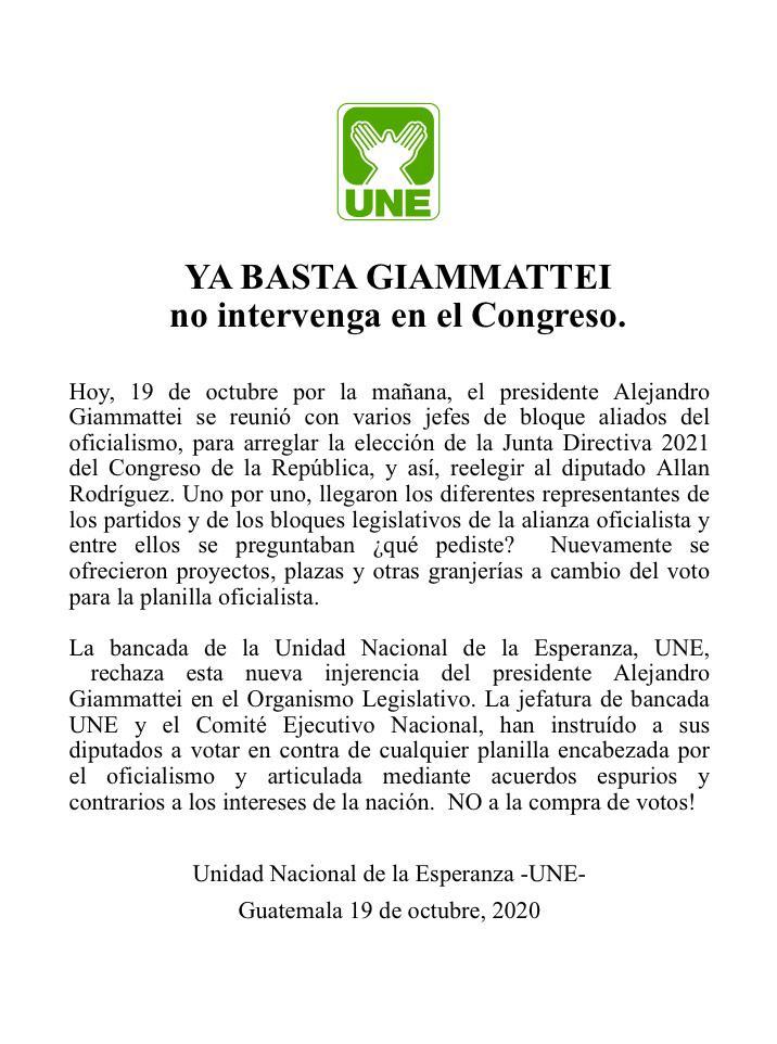 test Twitter Media - La UNE señala injerencia del Presidente Alejandro Giammattei en la elección de Junta Directiva del Congreso. https://t.co/KxUphOh1Z2
