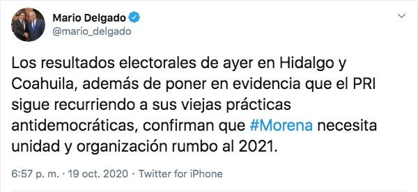 Acusa @mario_delgado al #PRI de recurrir a viejas prácticas antidemodráticas para lograr los resultados de ayer en las elecciones de #Hidalgo y #Coahuila #Elecciones2020MX https://t.co/pcJFhWi6b4
