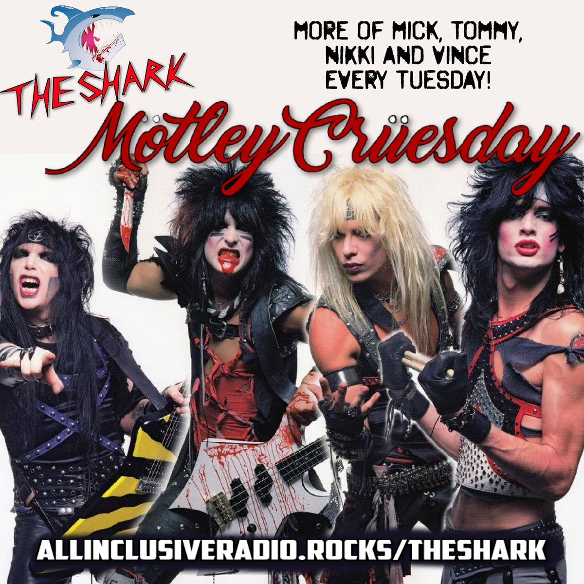 Spread the word about our #HairMetal and #MelodicRock radio station, THE SHARK.  And tune in on Tuesday's for Motley Cruesday where we play more #MotleyCrue all day... the big jams and all the others!  Tune in to THE SHARK.  We play the music satellite radio won't play. https://t.co/3Wpe6ObN7H