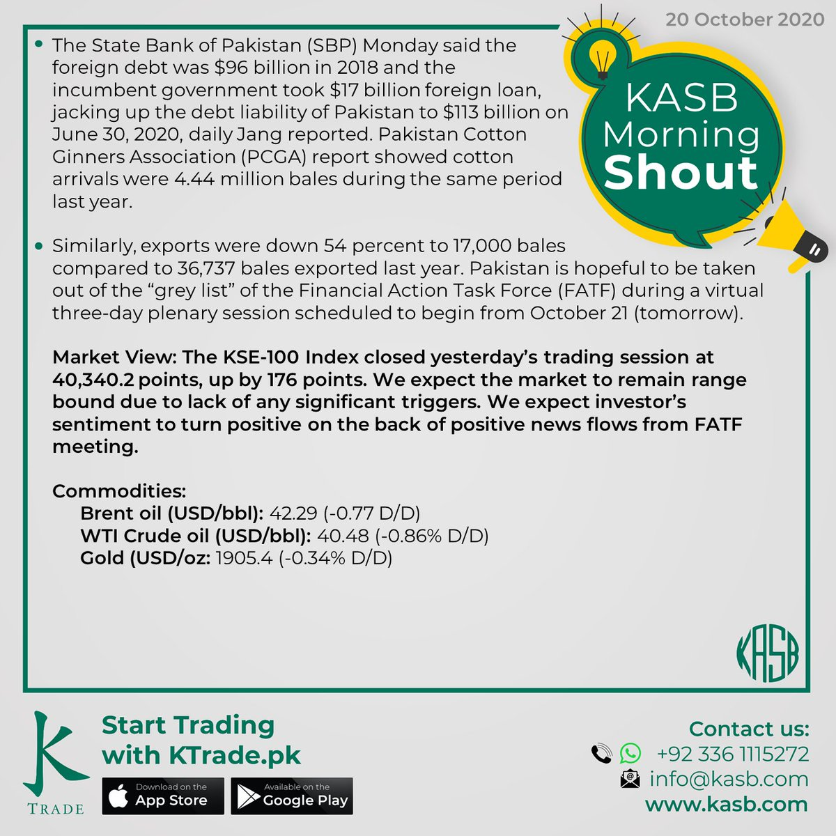 KASB Morning Shout: Our views on today's news #kasb #smartinvesting #psx #stockmarket #KTrade #onlinetrading #pakistaneconomy #imrankhan #sbp #inflation #kse100 #brokeragehouse #psxstocks #marketupdate #emergingmarkets #frontiermarkets #news #morning #today #views https://t.co/oArHzzzmFv