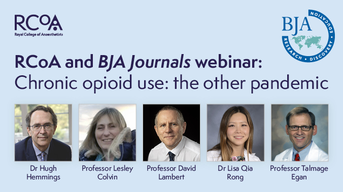 Join today's first *LUNCHTIME* webinar joint with @BJAJournals on the risk of opioid use & the possibilities of opioid-free anaesthesia. Speakers include @HughHemmings, @LesleyColvin1 & @DaveGLambert   Tue 20 Oct | 12.00-13.30 BST | Register: https://t.co/J8ETkRYtxN https://t.co/fIW9sk8ZyU