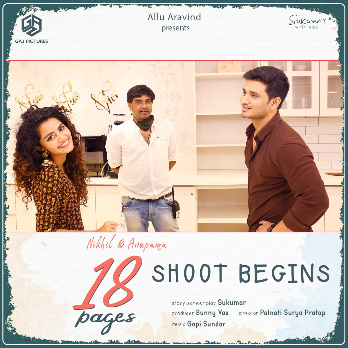 And we begin the shoot of our #18Pages 🎥📝 Send in your best wishes for the team 🧡  Here is a working still from the sets of #18PagesMovie 🤩  #AlluAravind @actor_Nikhil @anupamahere @dirsuryapratap @GopiSundarOffl #BunnyVas @raparthysaran @SukumarWritings