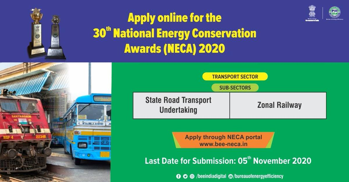 The transport sector accounts for 18% of the total energy consumption in India and has great potential for #energyefficiency. Exceptional performance in energy efficiency in the Transport sector category will be awarded in the 30th National Energy Conservation Awards 2020. https://t.co/rlv6GcSqVz