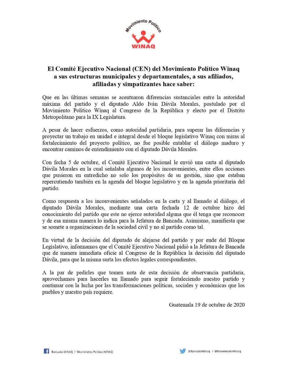 test Twitter Media - Partido Winaq oficializa la separación del diputado Aldo Dávila de sus filas. https://t.co/Gtdl2lmWha