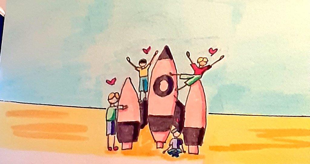 Tiny hung line and their not-so-tiny rocket 🌙☄ (yesterday was not my day 😭) #inktober #inktober2020 #inktober2020day16 #rocket #bts #btsfanart #NAMJOON #SEOKJIN #YOONGI #HOSEOK https://t.co/HiBEg5oVhC