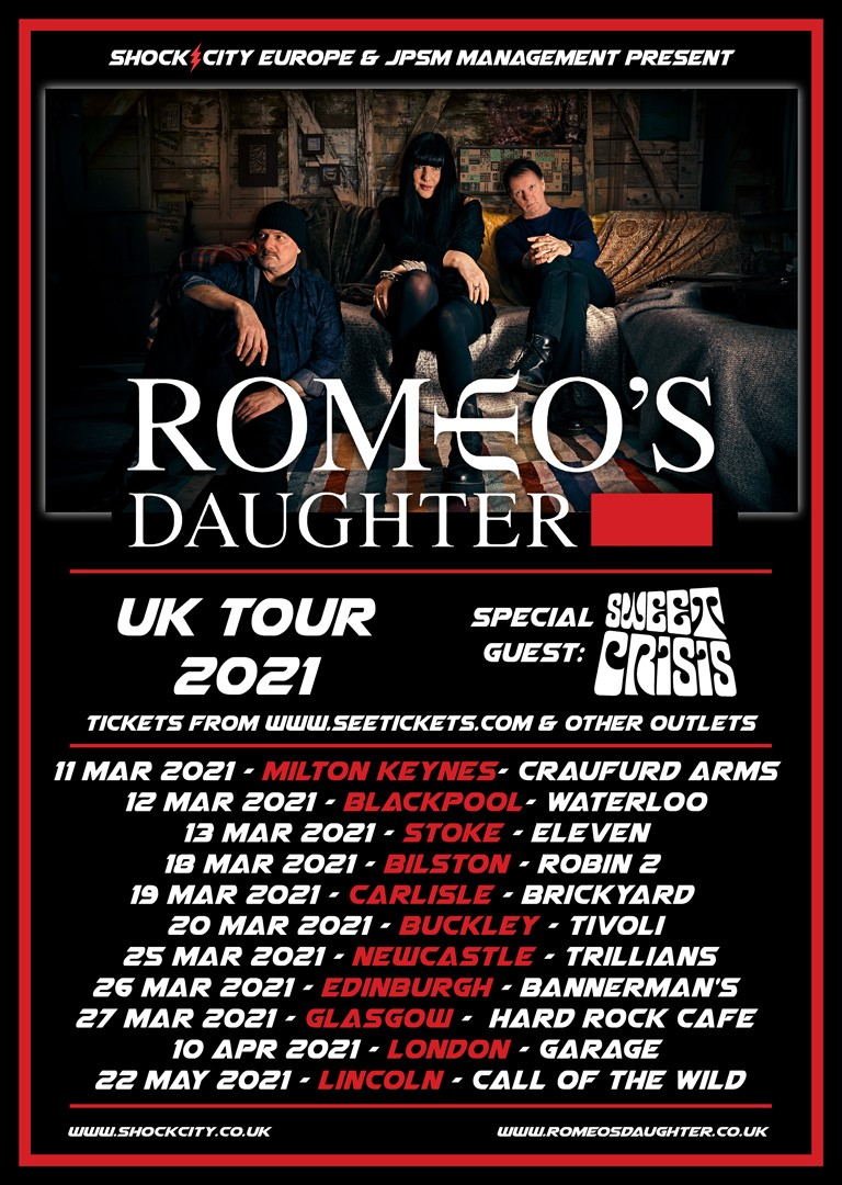 . @romeosdaughter + Support from @sweetcrisisband!  Thursday 25th March 2021: @TrilliansRock  TICKETS: https://t.co/tkF9R5rsmS  #RomeosDaughter #RomoesDaughterAOR #AOR #SweetCrisis #SweetCrisisBand #Trillians #TrilliansRock #Music #LiveMusic #Tours #Gigs #March #UK https://t.co/7nvkvig2wM