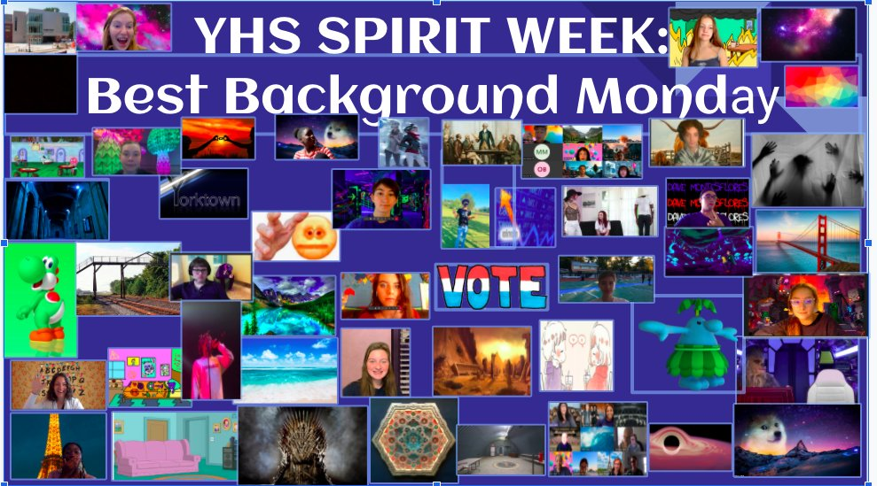 YHS Kicks off Virtual Fall Spirit Week with Best Background Monday. <a target='_blank' href='http://twitter.com/Principal_YHS'>@Principal_YHS</a> <a target='_blank' href='http://twitter.com/yhssports'>@yhssports</a> <a target='_blank' href='http://twitter.com/YHSDailies'>@YHSDailies</a> <a target='_blank' href='http://twitter.com/YorktownYB'>@YorktownYB</a> <a target='_blank' href='http://twitter.com/YorktownSentry'>@YorktownSentry</a> <a target='_blank' href='https://t.co/mjsf8qexBw'>https://t.co/mjsf8qexBw</a>