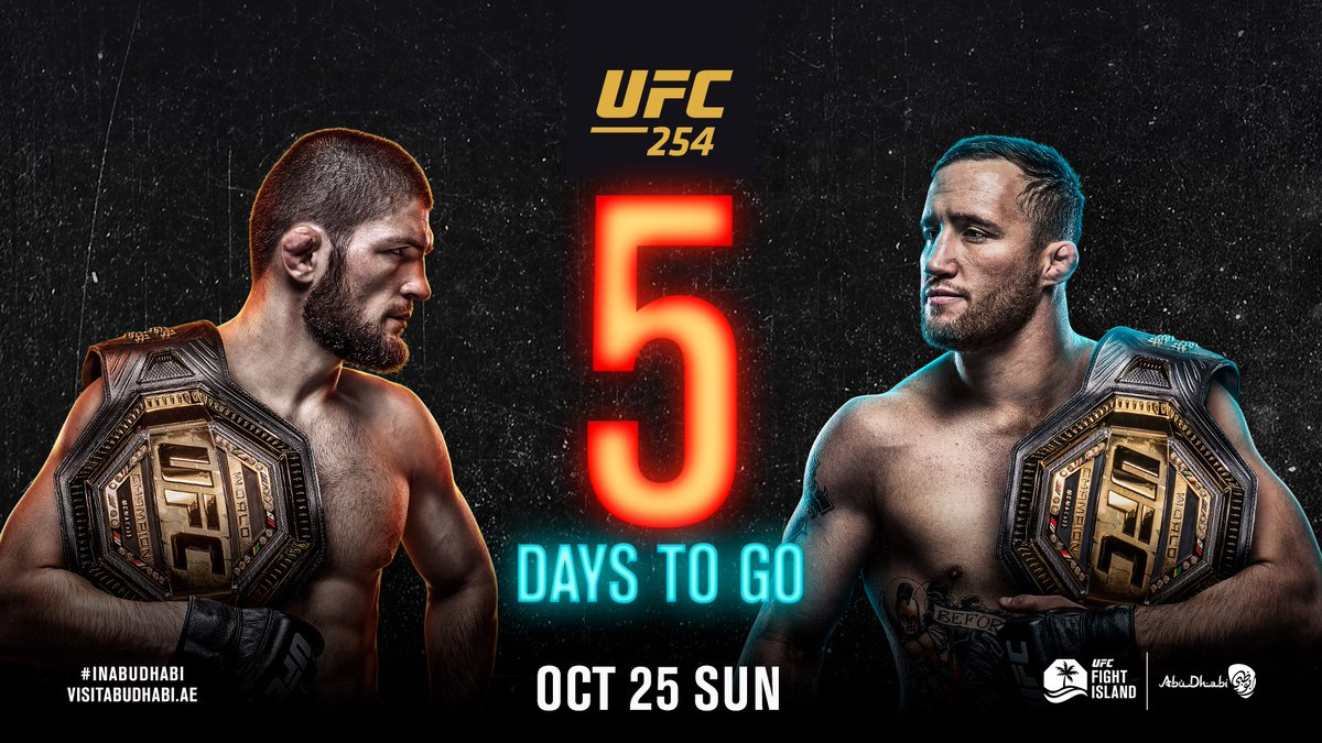 Just FIVE days to go!  #UFC254 | #InAbuDhabi | @VisitAbuDhabi https://t.co/5O6IDGC4Qv