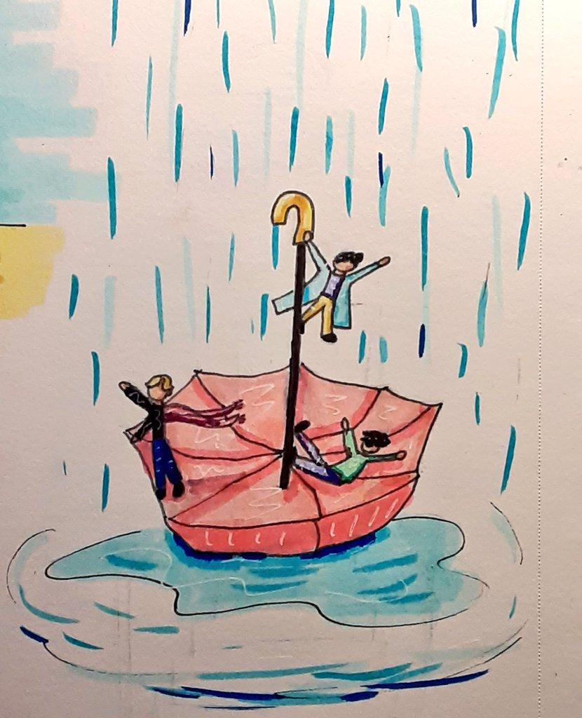 Tiny maknae line and their umbrella adventures ☔🌧 #inktober #inktober2020 #inktober2020day17 #bts #btsfanart #JIMIN #JUNGKOOK #TAEHYUNG https://t.co/wkjs5AOiUn