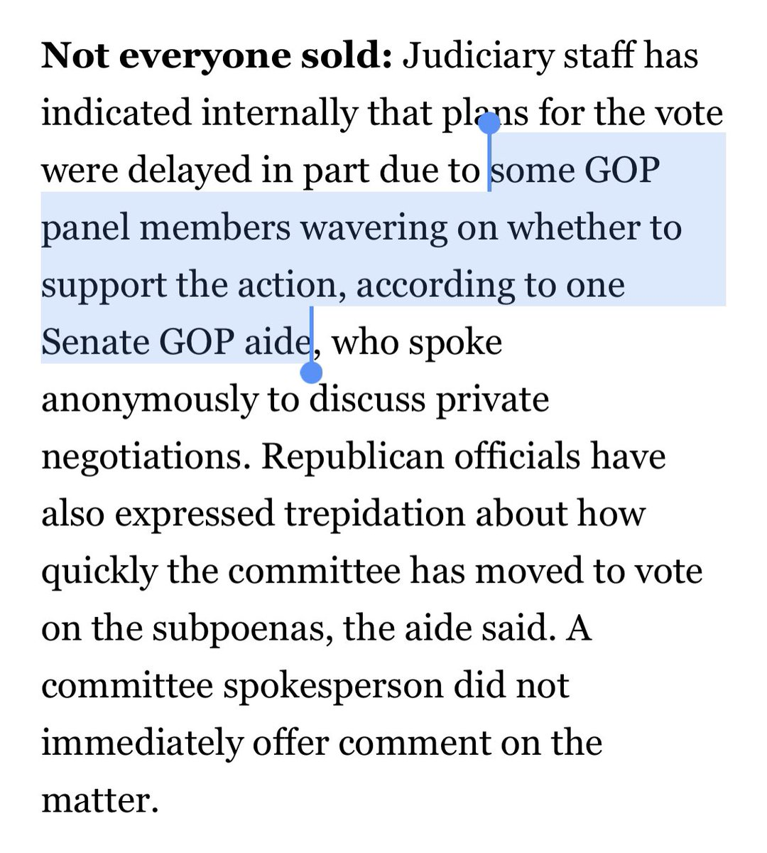 Senate Republicans collapse even on hearings and subpoenas for big tech. We *know* it wasn't Hawley, Cruz or Kennedy staff. https://t.co/Tz4jv2THTQ https://t.co/fMgBacEqYy