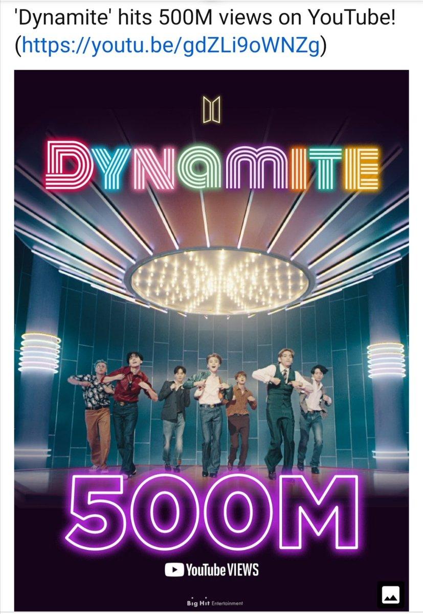 5億回再生おめでとうございます💜💜💜 #BTS_Dynamite #BTS_twt https://t.co/7BMNRndF24