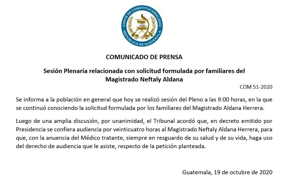 """test Twitter Media - CC informa que se acordó dar """"audiencia por veinticuatro horas al Magistrado Neftaly Aldana Herrera, para que, con la anuencia del Médico tratante, siempre en resguardo de su salud y de su vida, haga uso del derecho de audiencia que le asiste, respecto de la petición planteada"""". https://t.co/jnYEVXm5Le"""