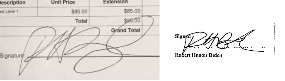 Left: Hunter Biden's supposed signature at the Delaware computer shop.  Right: Hunter Biden's signature on a United Kingdom corporate document. https://t.co/60XeM86I3Z