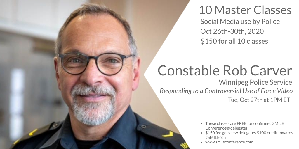 Constable Rob Carver of @wpgpolice  is 1 of 12 speakers from 4 countries presenting in next week's master class series, produced by the SMILE Conference®.  Here's more info: https://t.co/kplLgtWCZo  #lesm #smilecon #smgov #smem #govcon #govtech #omron https://t.co/J1rmo7fzyU