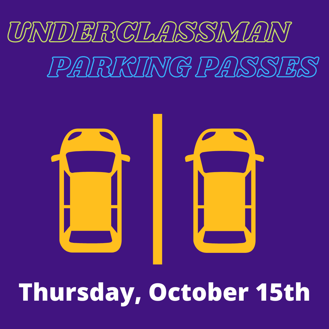 Underclassman Parking Passes:   The times for this distribution are 7:00 am till 8:30 am, 12 noon till 1:00 pm, and 4:00 pm till 6:00 pm. We will continue each week on Monday, Tuesday, and Thursday for the next two weeks. https://t.co/bGHLcAL6XF