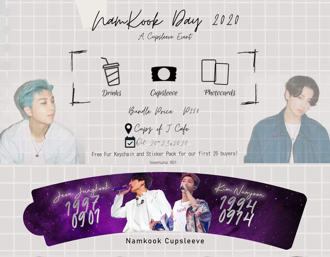 Namkook Cupsleeve by @lovenuna_901 🗓️Available now until sold out 📍Cupz of J cafe  https://t.co/TSqVjZZuRX  Free fur keychain and sticker pack for our first 25 buyers.  #namkook #namjoon #jungkook #bts https://t.co/HC9SpEUj1H