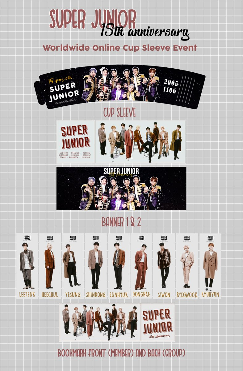 [RETWEET] To Celebrate Super Junior 15th Anniversary, I made a simple cup sleeve, banners, and bookmarks that can you download and print for free.   DOWNLOAD FILE: https://t.co/sJoyHMQ4XE   #슈퍼주니어 #SUPERJUNIOR https://t.co/Qw9S2EE0Du