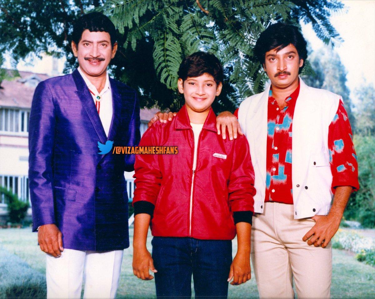 Superstar Krishna garu, G. Ramesh Babu garu, @urstrulyMahesh *ing SuperHit movie #MugguruKodukulu Completes 32 Years Today !!!  Heroine : Radha  Director : G. Krishna garu  Producer : G. Nagaratnamma garu  Music : Chakravarthy  #32YearsForMugguruKodukulu #SarkaruVaariPaata https://t.co/nSgmank7v9