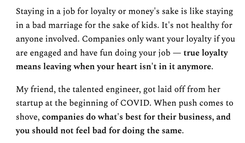 There is no such thing called loyalty in job. There is only business value.
