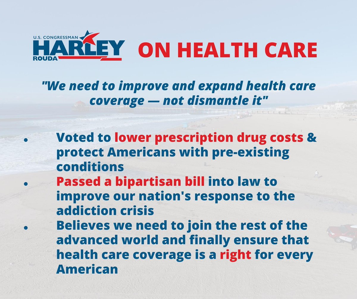 """""""We need to improve and expand health care coverage — not dismantle it."""" ~ Harley Rouda  #CA48  #Election2020    #Congress  #healthcare 3/17"""