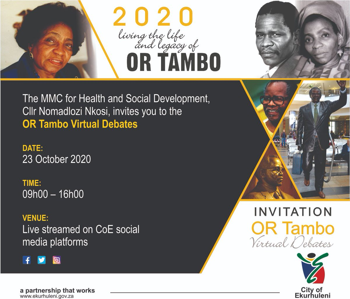 🗣#ORTamboMonth Debates   The youth of Ekurhuleni will go head-to-head in the #ORTambo debates on Friday, 23 October from 09h00 – 16h00.  Participants will come up with solutions to problems faced in their communities drawing on #ORTambo's legacy to fight global pandemics. https://t.co/OuRsUSZj5h