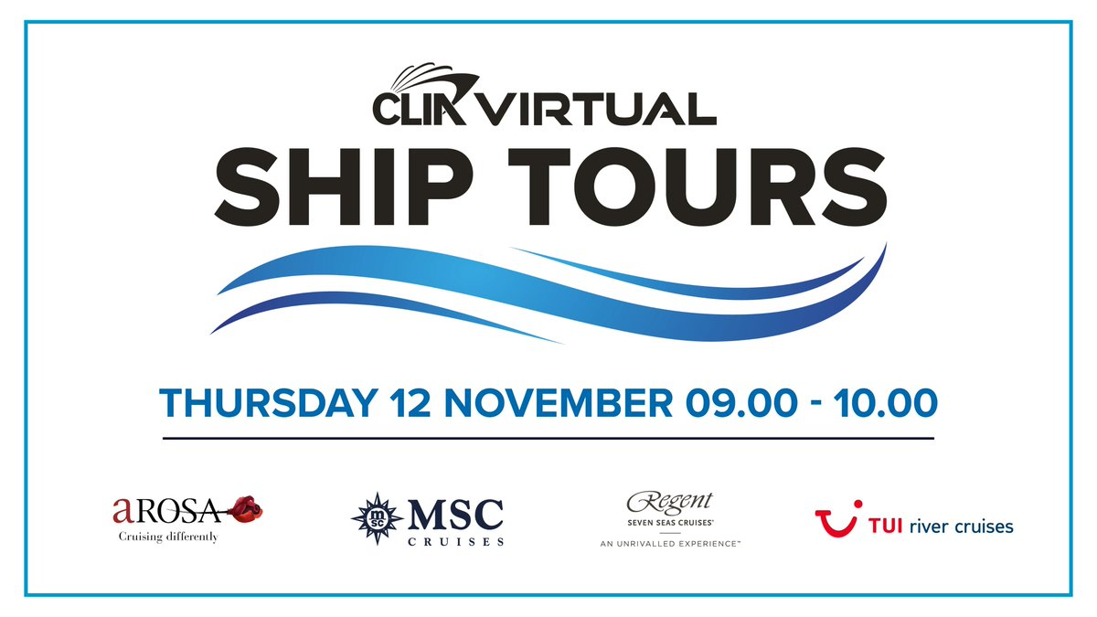 Up next for our Virtual Ship Tours, on November 12 we'll be joined by @arosa_cruises, @MSC_Cruises_UK, @regentcruises and @TUIUK river cruises!   To register for all our Virtual Ship Tours, visit https://t.co/KgXdcPu1vU https://t.co/PbYEyKUNe4