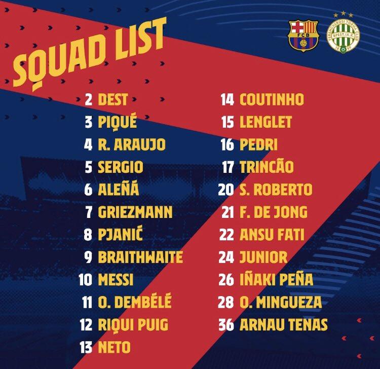 ❗Official — Squad list vs Ferencváros: https://t.co/wpLRs0c4z3