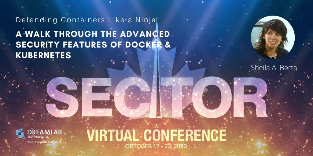 @UnaPibaGeek will be presenting on #Docker & Kubernets at @sectorca, Canada's IT Security Conference this coming Wednesday, October 21: https://t.co/pHuqEjtg6w #sectorca #cybersecurity #infosec https://t.co/TLWL7PQ8Xl
