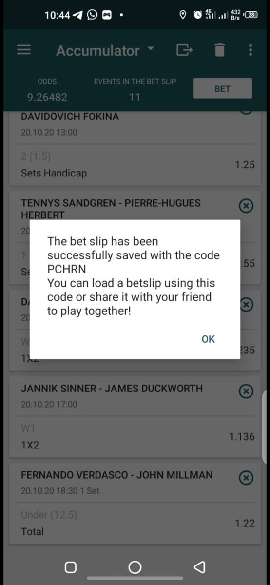 Tennis bets on 22BET 🎾 9 odds ATP➡️ PCHRN 4 odds WTA➡️ KLHRN 30k odds mixed➡️ 214RN (Edit) Register & place bet here➡️ bit.ly/31jEBsN 22bet funding➡️ t.me/JennyEPOS Telegram channel for inplays & more ➡️ t.me/joinchat/AAAAA… Greenluck 💥💪🏽