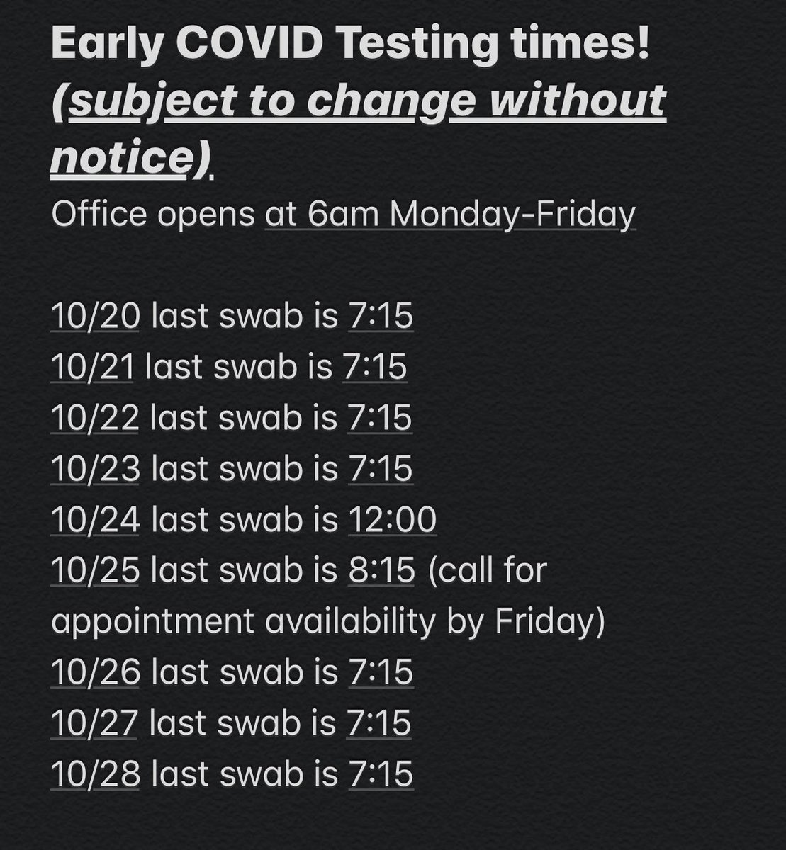 💥LA early COVID testing time💥       Anyone tested after 7:15 will get results following day usually between 11am & 1pm❕Please purchase your test prior to coming in. Thank you for understanding! #themoreyouknow #iknowmystatus #TTSteamNorthridge