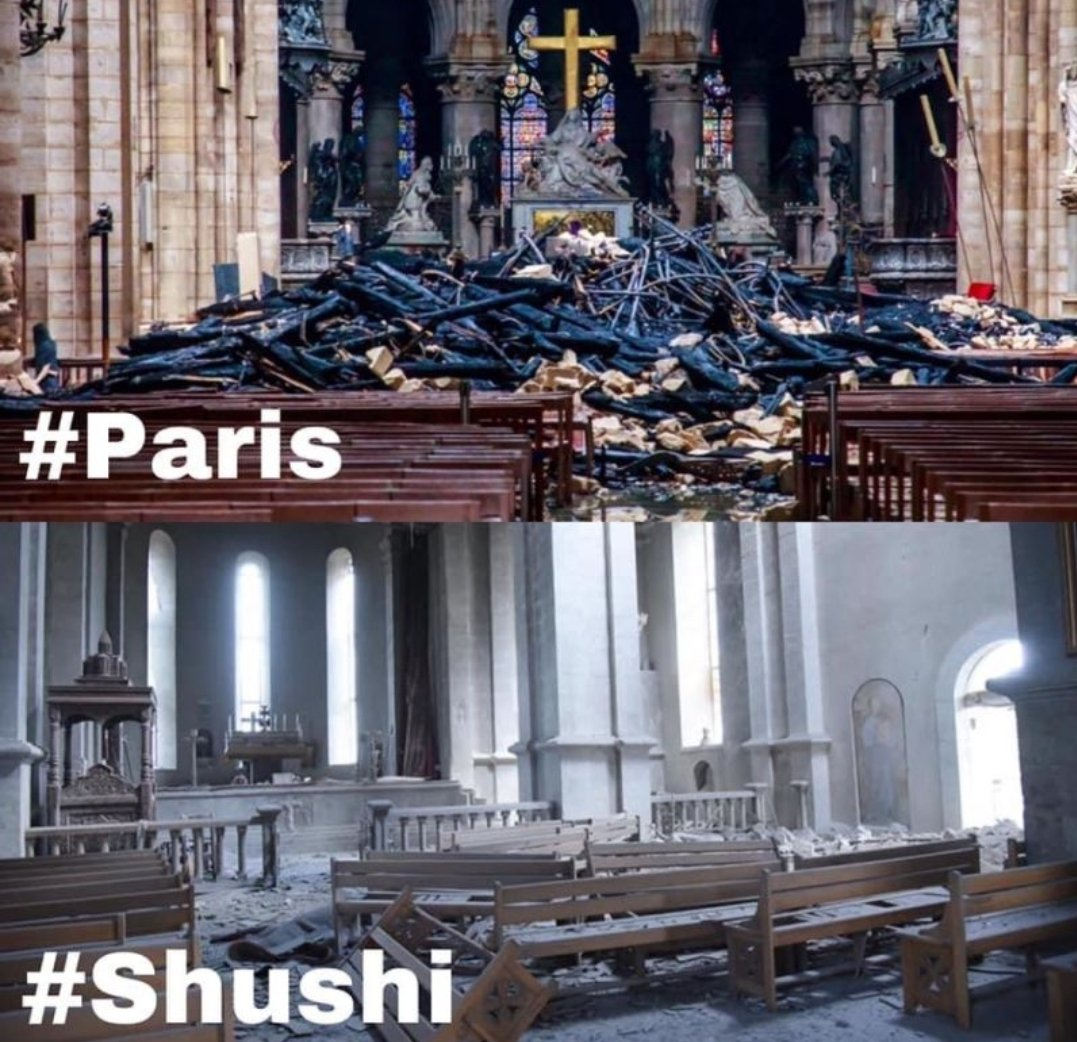 When #NotreDame de #Paris was burning the whole #World was talking about that, BUT when the #Ghazanchetsots Cathedral in #Shushi is being destroyed by the barbaric #Azerbaijan the same World is #silent UNESCO #RecognizeArtsakh #StopAzerbaijaniAggression #SanctionTurkey https://t.co/FRb5zXRmn8