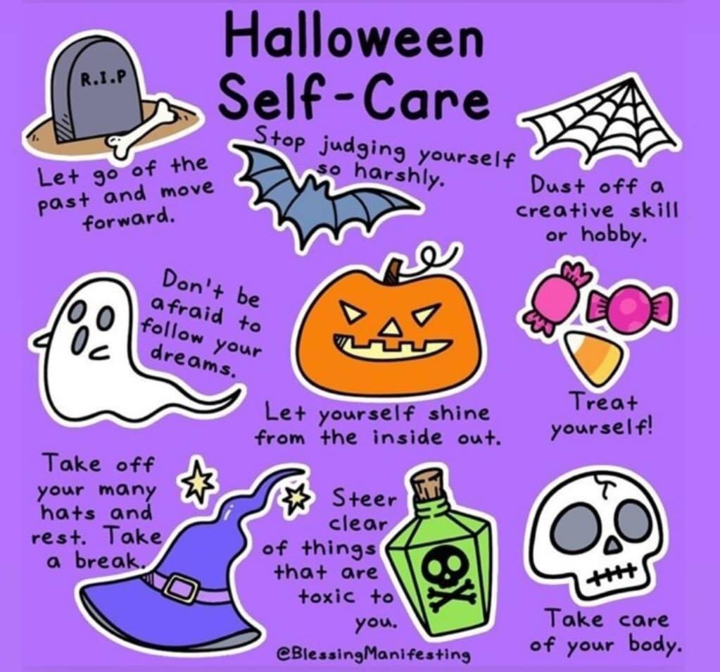 I think we all need a bit of Halloween self care #cantfillfromanemptybucket https://t.co/XjeE0plOuS